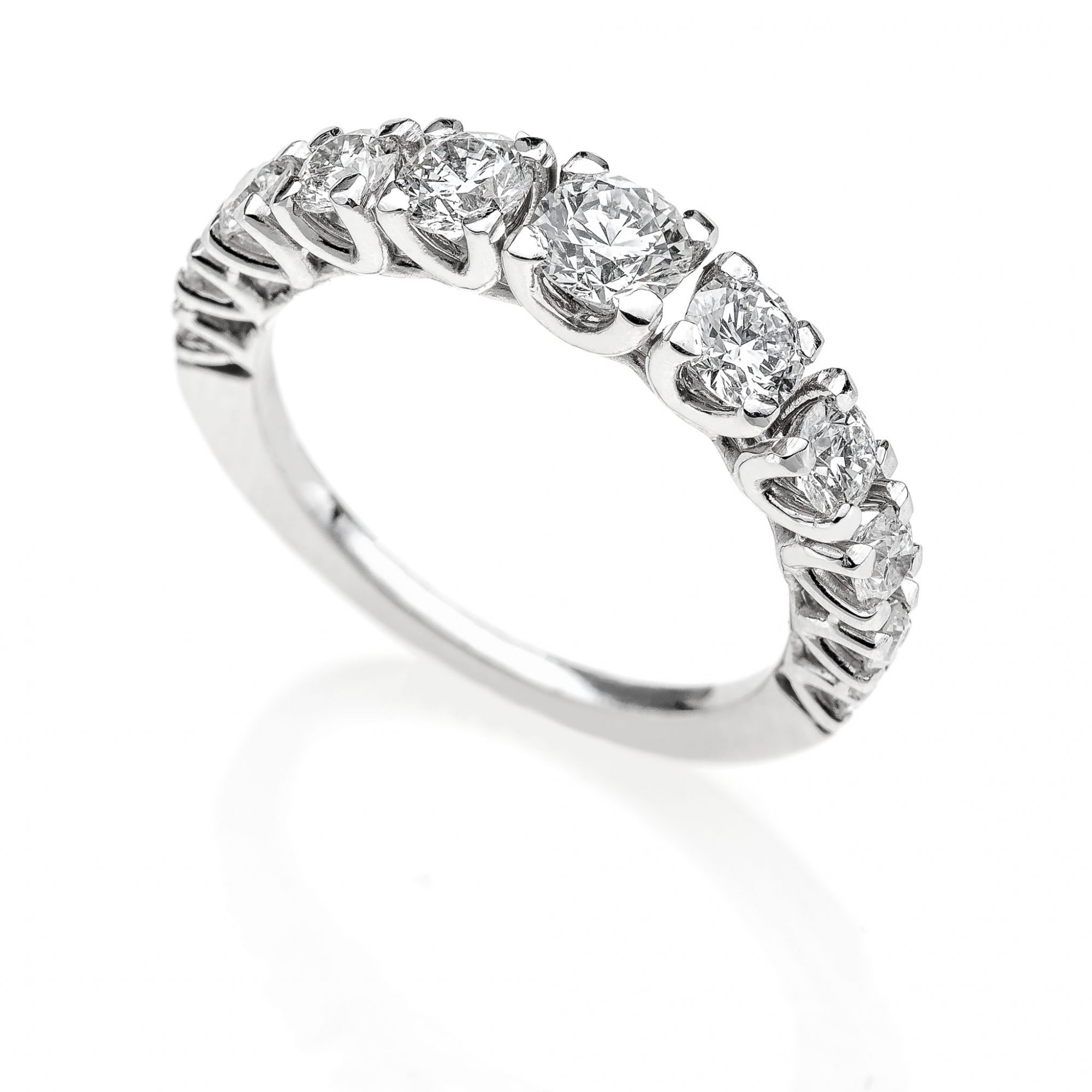18 KT white gold ring with round brilliant cut diamonds ct.1.20 VS2 G color