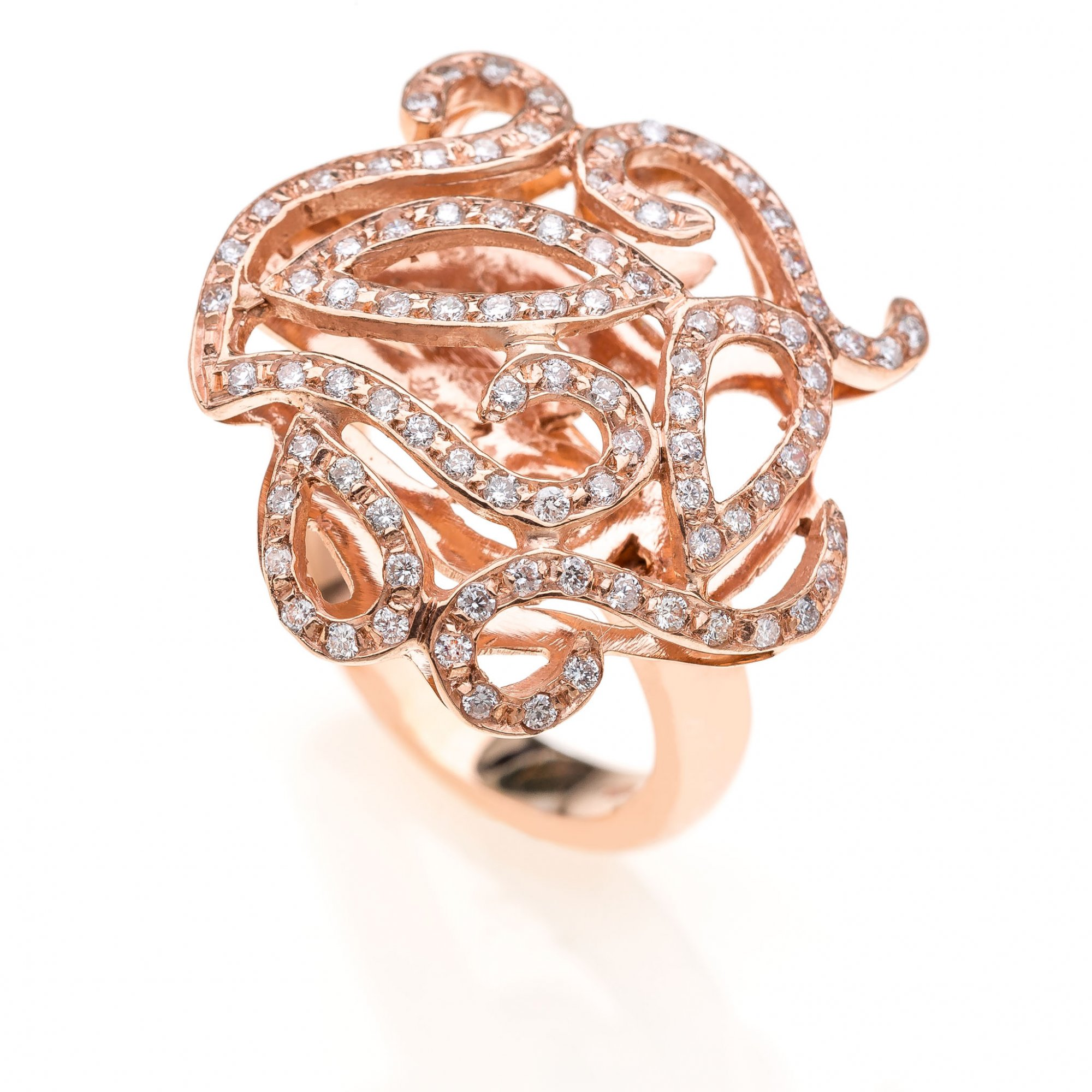 18 KT pink gold with round brilliant cut diamonds ct.0.90 VS H color