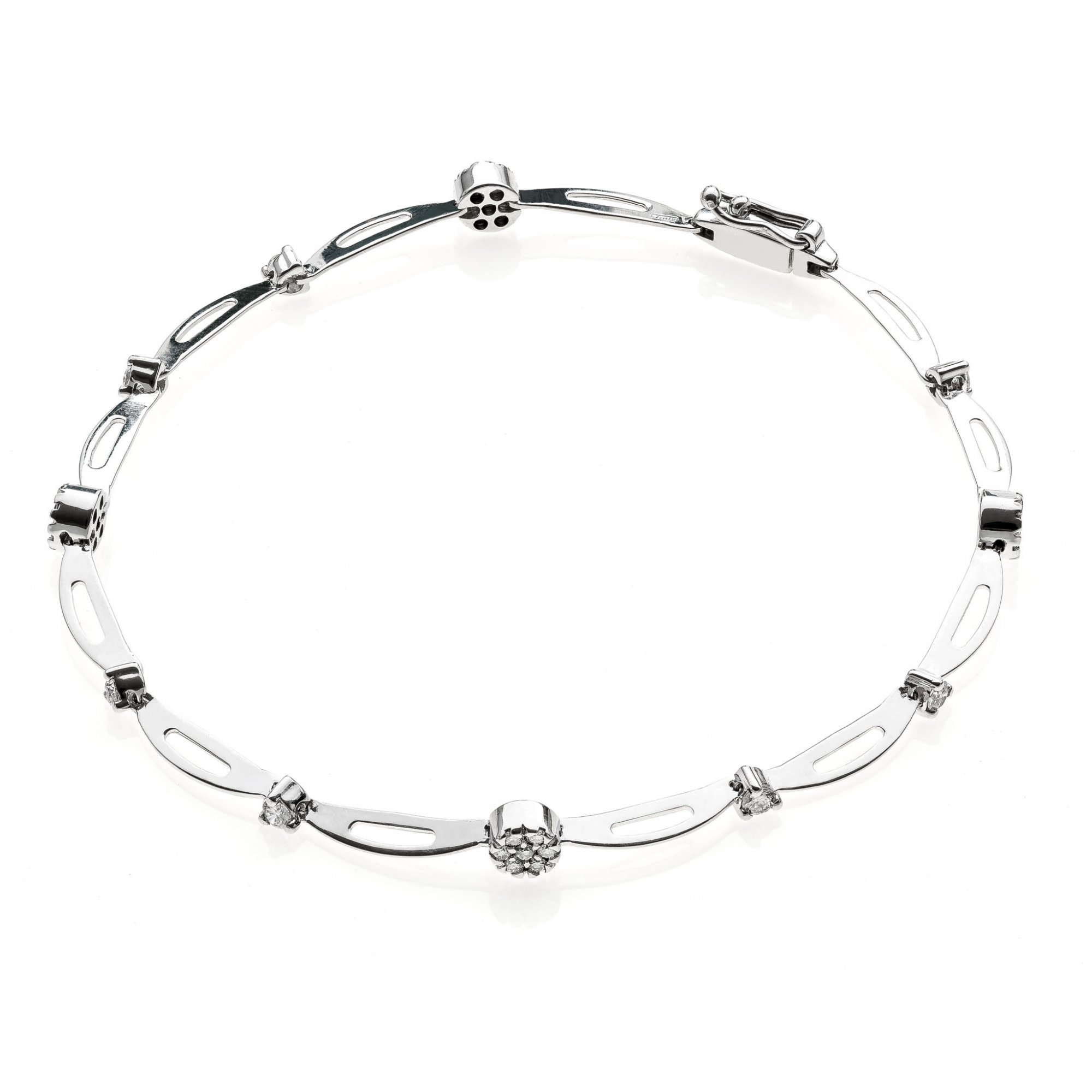 18 KT white gold bracelet with round brilliant cut diamonds ct.0.40 VS H color