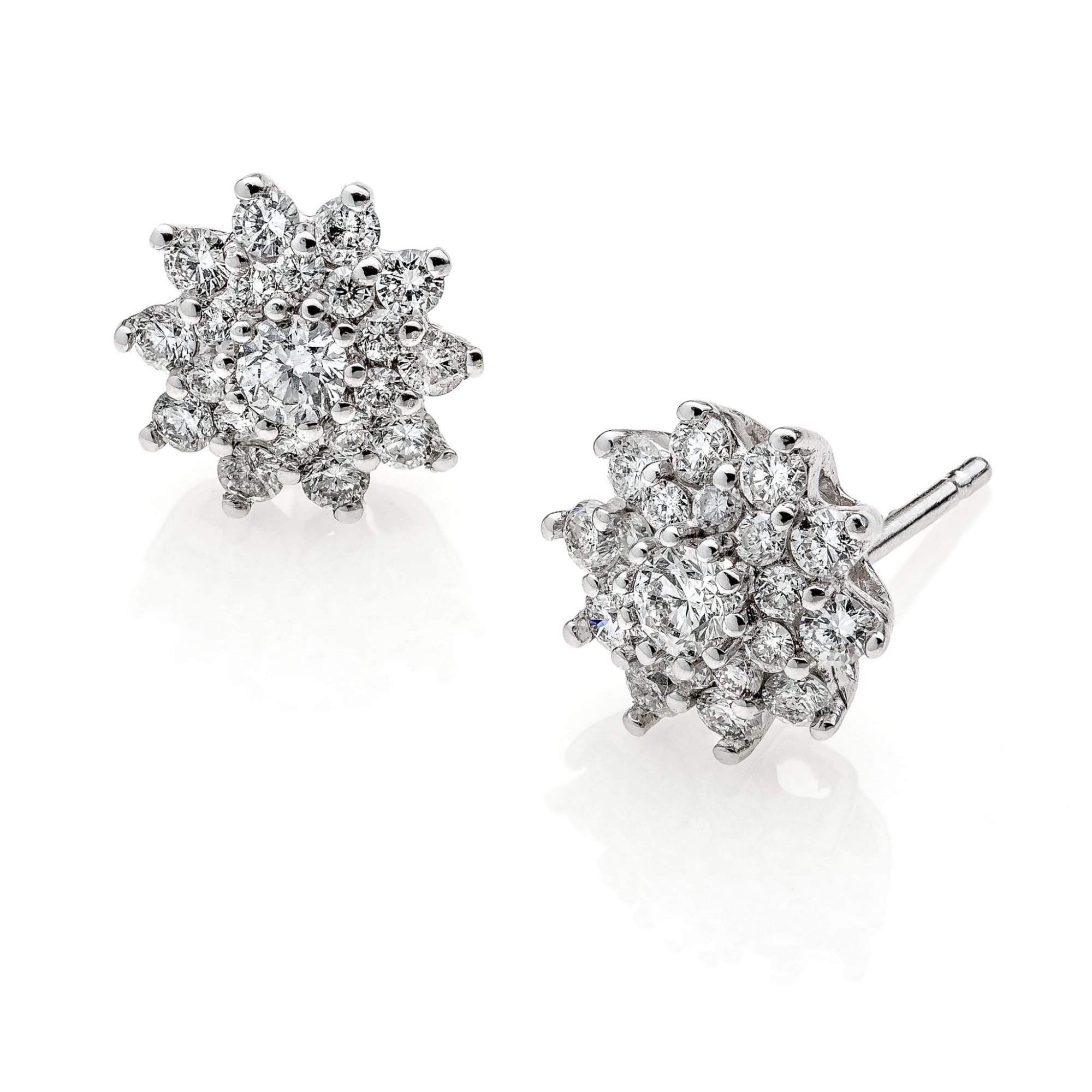 18 KT white gold earrings with round brilliant cut diamonds ct.0.60 + ct.0.20 VS1 G color