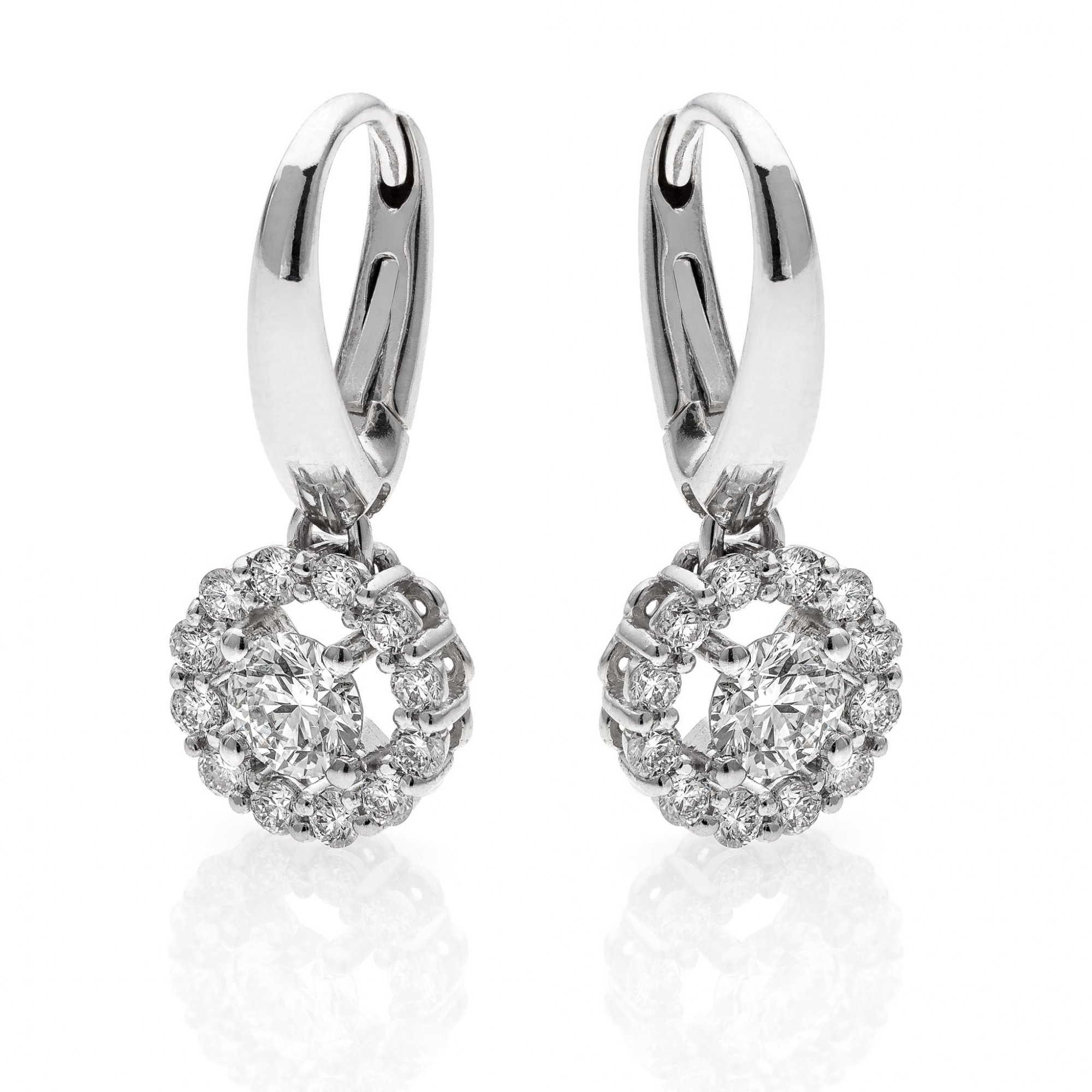 18 KT white gold earrings with round brilliant cut diamonds ct.0.90 + ct.0.30 VS1 F color