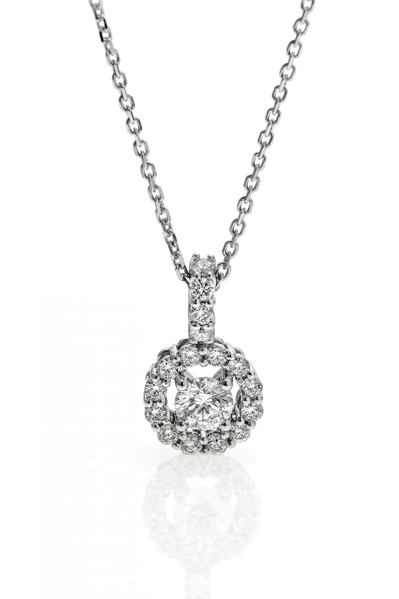 18 KT white gold necklace with round brilliant cut diamonds ct.0.45 + ct.0.14 VS1 F color