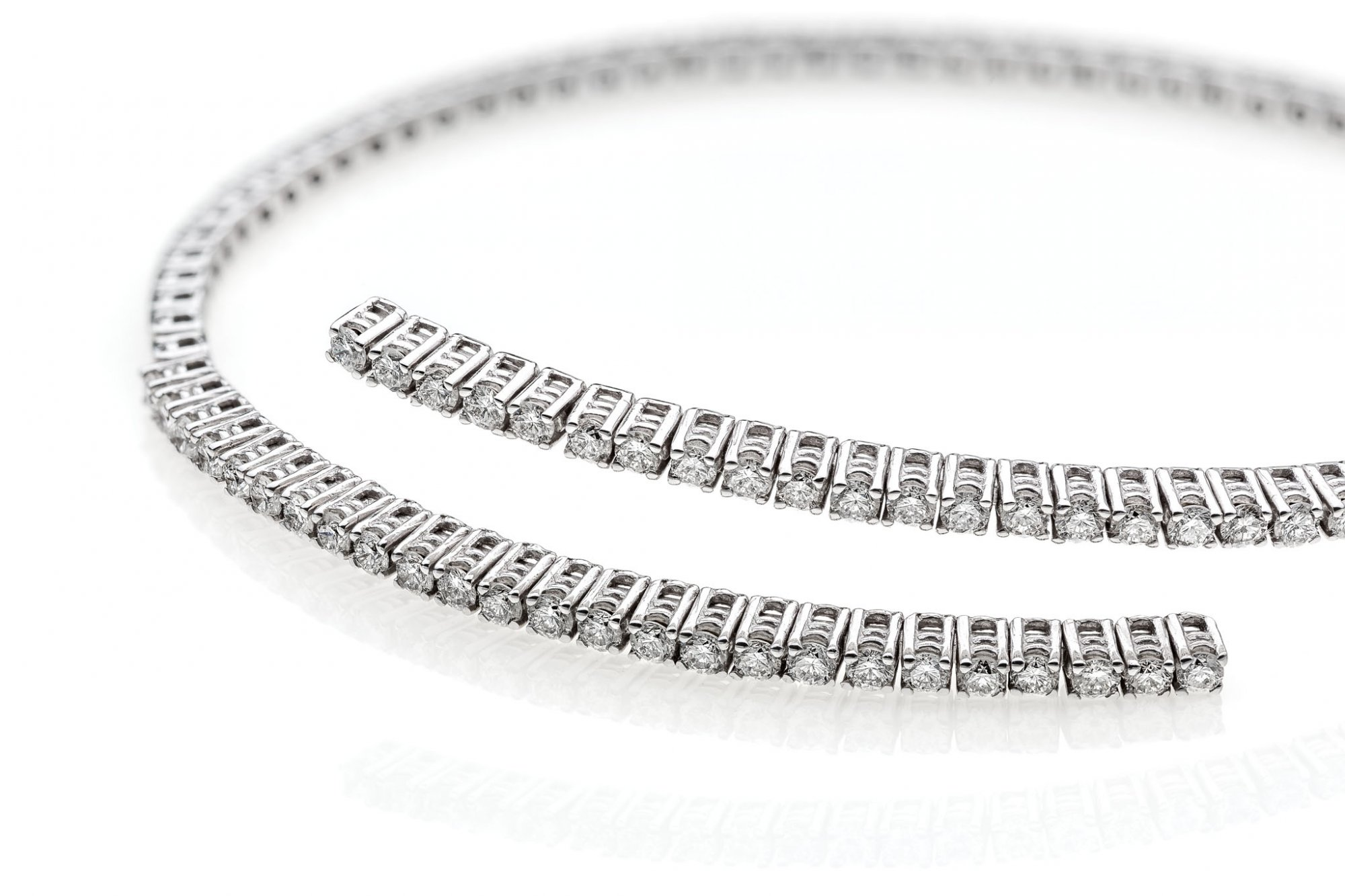 Tennis bracelet in 18 KT white gold with round brilliant cut diamonds ct.0.80 VS G color