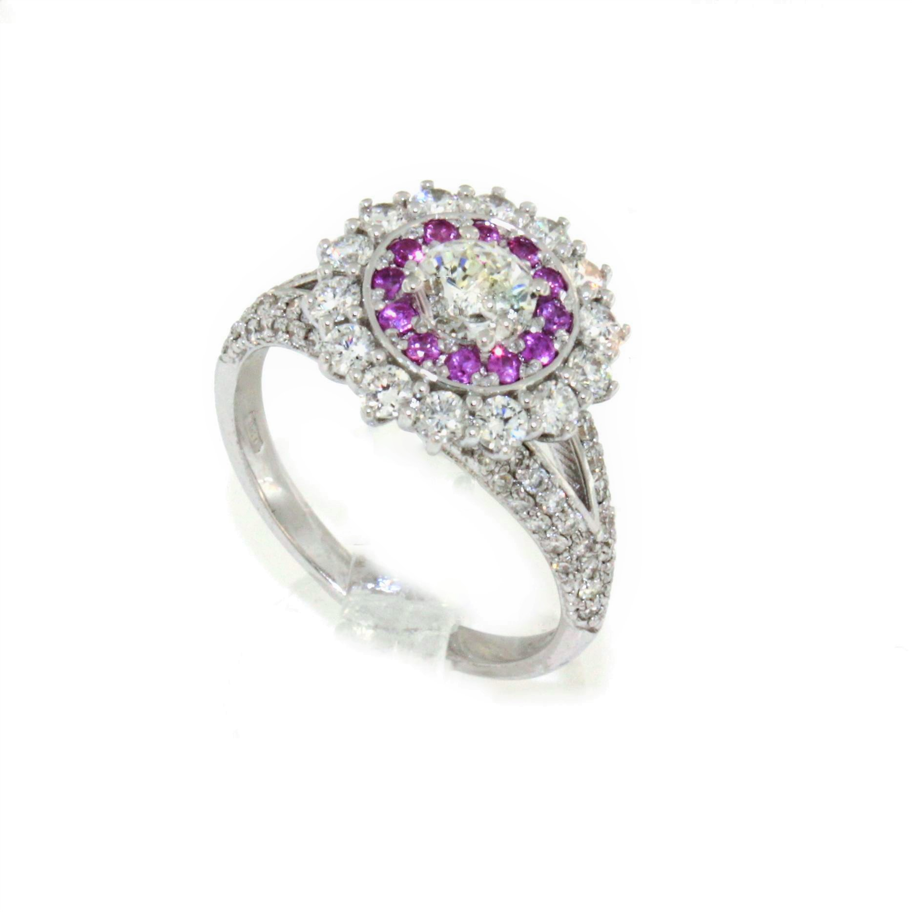 ring in withe gold 18kt with natural diamond and pink diamond